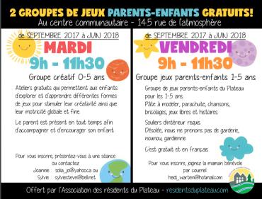 Participez aux groupes Parents-Enfants MARDI et/ou VENDREDI