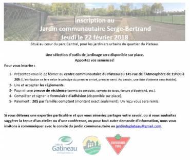 Inscription au Jardin Communautaire Serge-Bertrand – 2018
