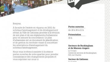 Séances de consultations publiques de la Ville de Gatineau – Plan d'urbanisme et concordance