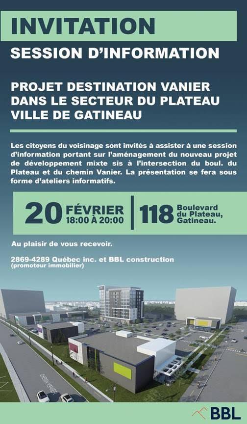 Séance d'information publique sur le projet Destination Vanier: 20 février 2020, 18h00 -20h00, au 118, boulevard du Plateau (Église chrétienne du Plateau).