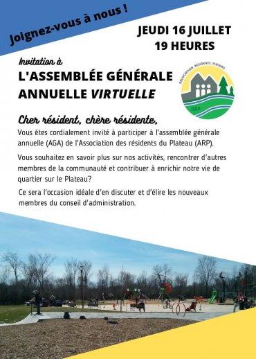 Nouvelle invitation à l'assemblée générale annuelle de l'ARP